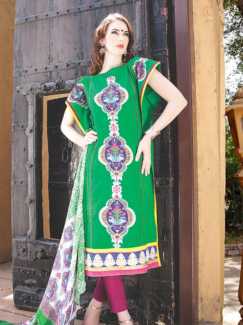 0776A Green and Purple Cotton Jacquard Straight Suit