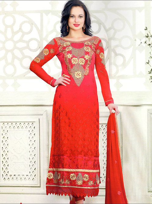 12001Red and LightYellow Georgette Straight Suit
