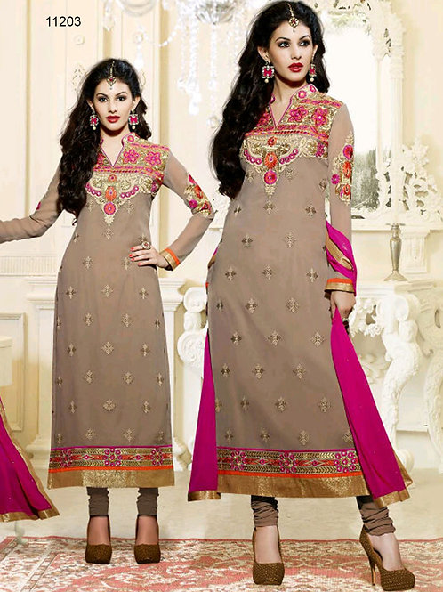 11203Light Brown And Magenta Straight Suit