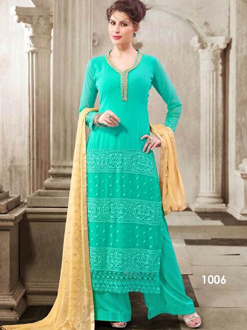 1006 Sea Green Designer Georgette Plazo Suit