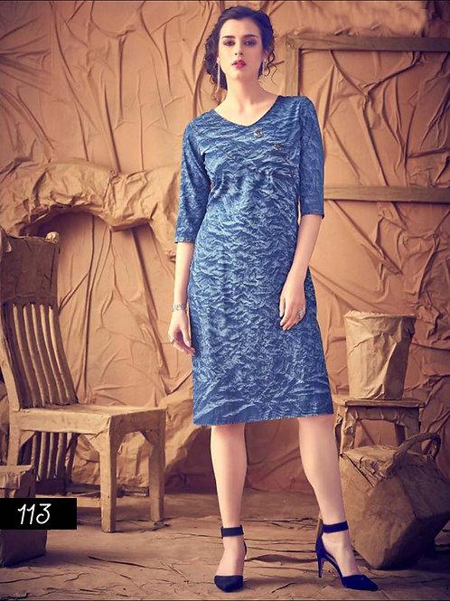 113 Blue Designer Denim Kurtis
