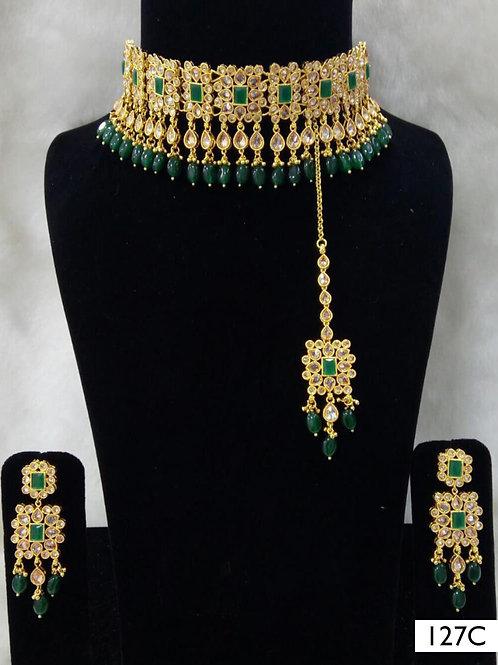 127C Green Bridal Wear Necklace Set With Maang Tika