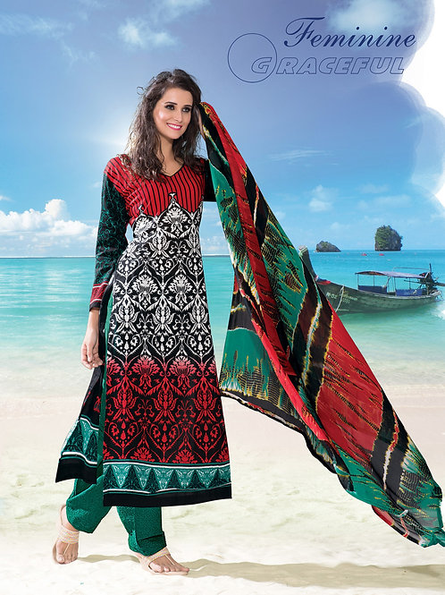 118Red and Green Pakistani Suit