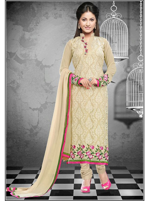 1115Beige and HotPink Georgette Straight Suit