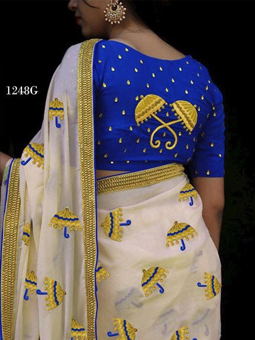 1248G Cream and Royal Blue Designer Chanderi Silk Saree