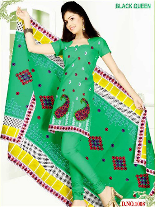 1008LightGreen and White Cotton Salwar Suit