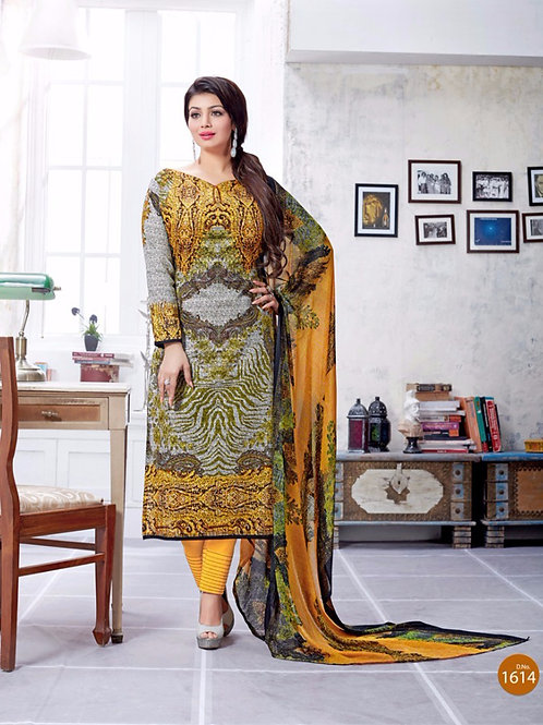 1614Yellow and Multicolor Printed Lawn Cotton Party Wear Straight Suit