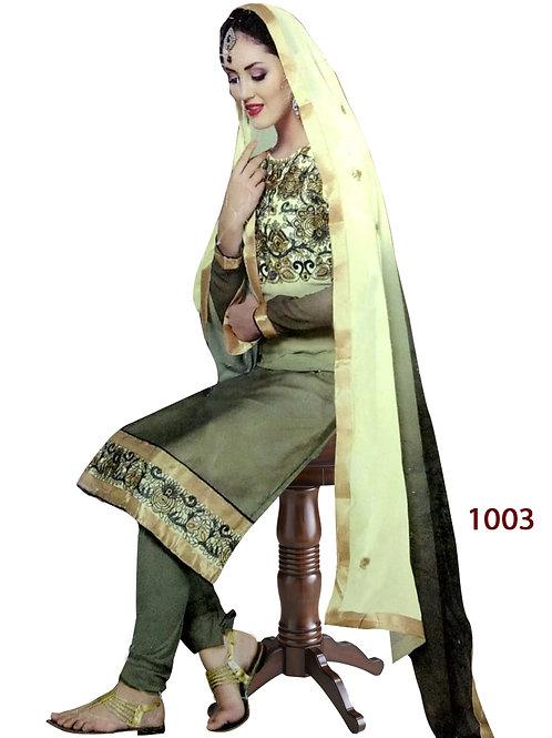 1003 Mehandi Green Designer Straight Suit