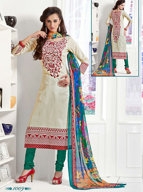 1009Ivory and SpringGreen Daily Wear Satin Cotton Straight Suit