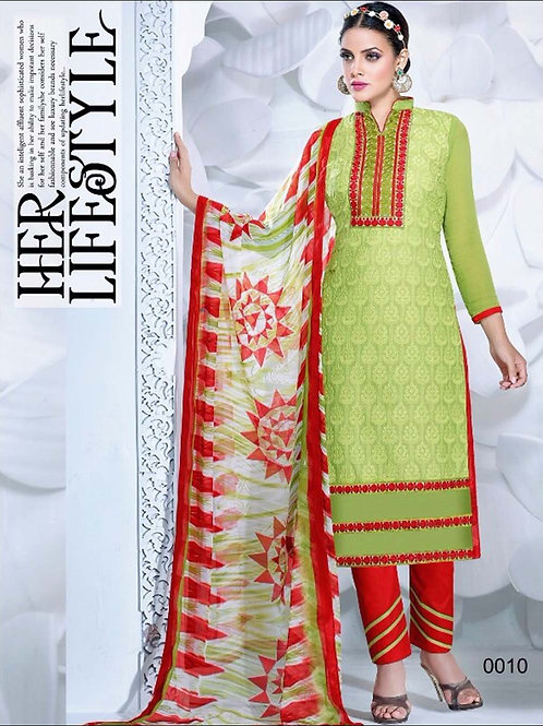 0010 Olive Green and Red Cambric Cotton Straight Suit