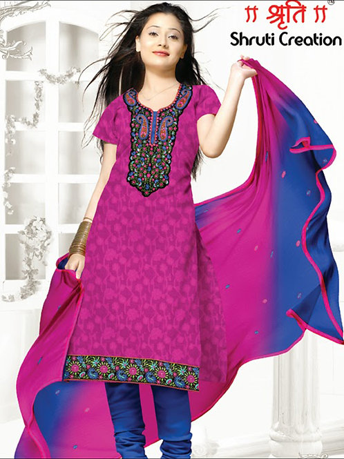1102Pink and Blue Chudidar Suit