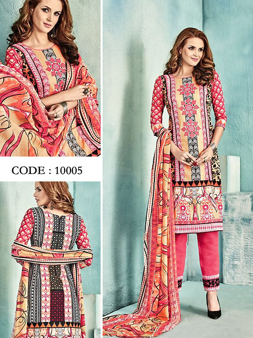 10005Light Red and Multicolor Latest Fancy Salwar Suit