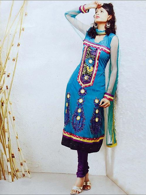 11 Firozi Blue and Dark Purple Net Anarkali Suit