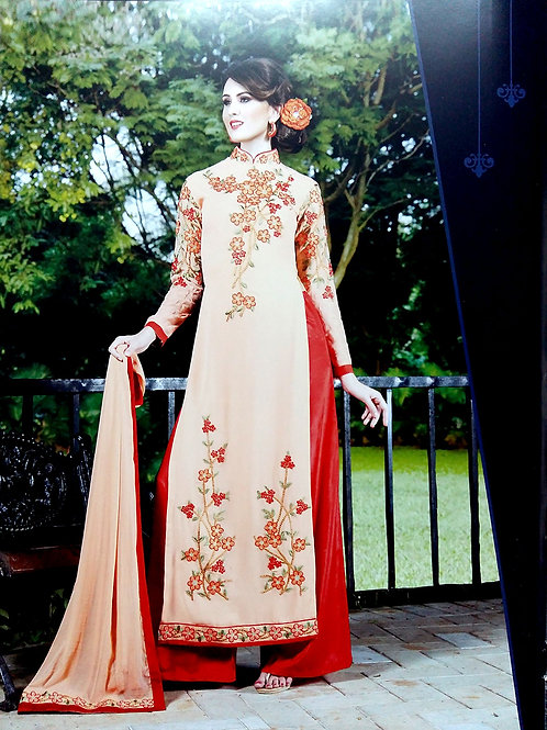 13001Skin and Red Embroidered Georgette Party Wear Palazzo Suit