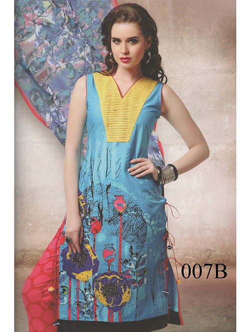 007B Yellow and SkyBlue Lawn Cotton Chudidar Suit