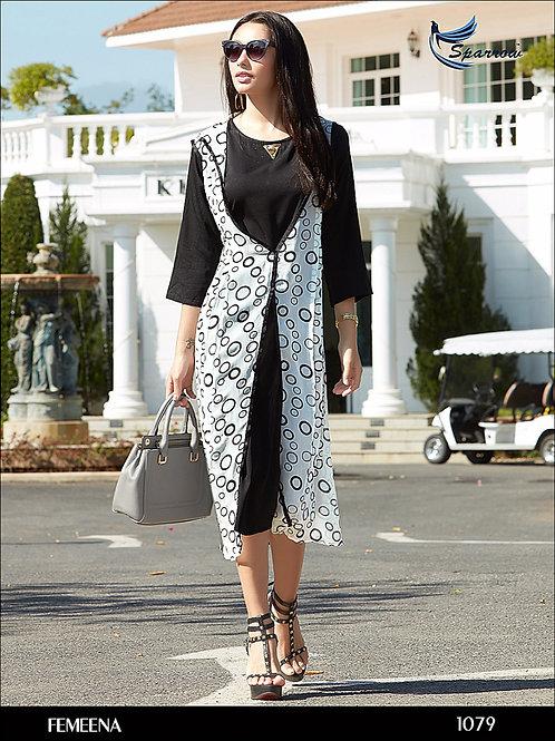 1079 White Designer Georgette Kurti