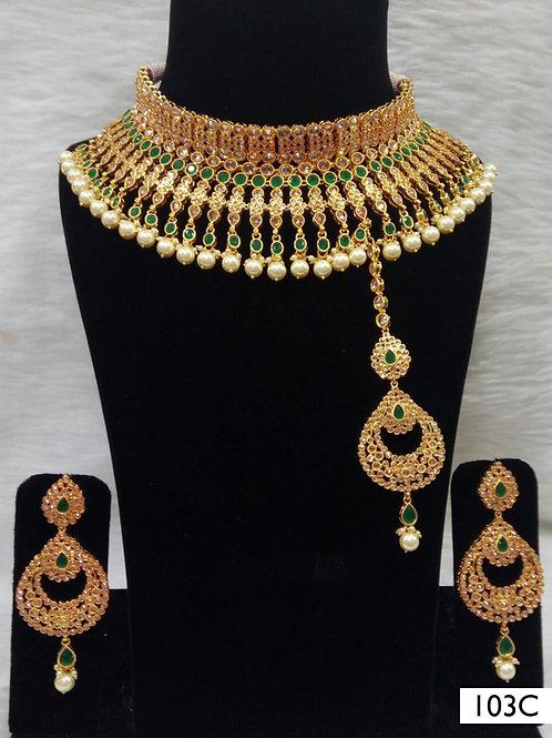 103C Green Bridal Wear Necklace Set With Maang Tika