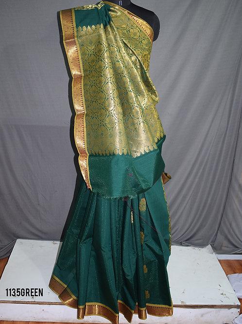 1135 Green Colored Mono Cotton Saree