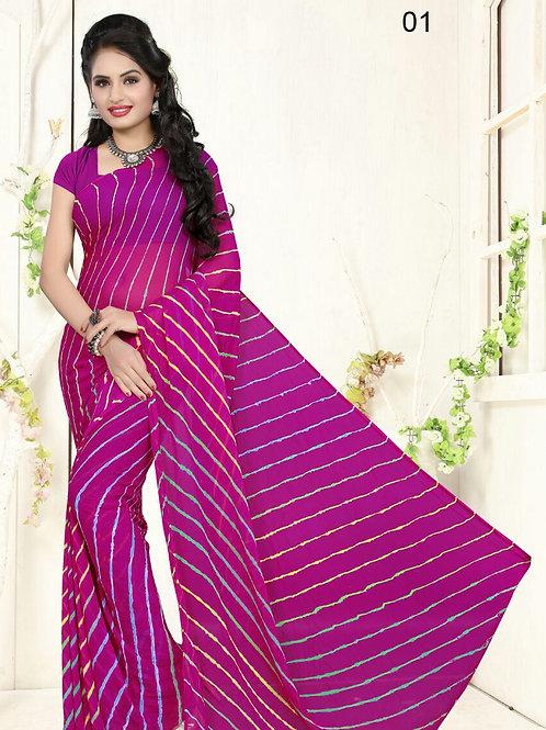 01 Purple Exclusive Diamond Chiffon Lahariya Sarees