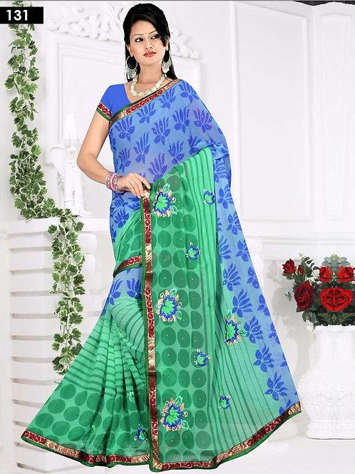131 Blue and Sea Green Designer Saree