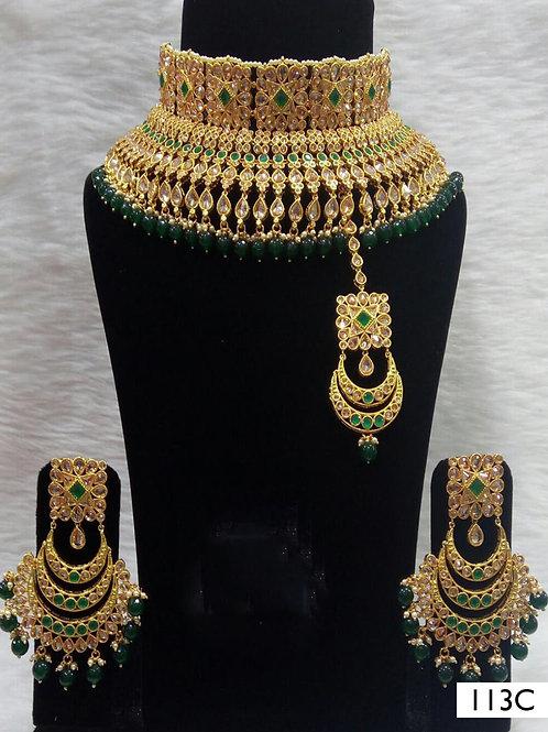 113C Green Bridal Wear Necklace Set With Maang Tika