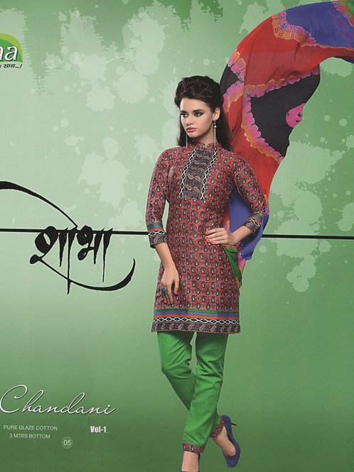05 Red and Green Cotton Chudidar Suit