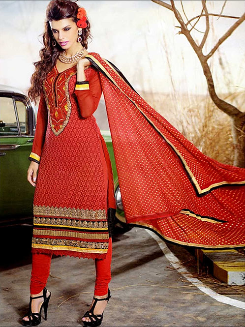 1004Red and Black Georgette Straight Suit