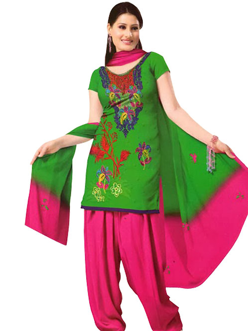 1005 Green and Deep Pink Velvet Embroidered Dress Material