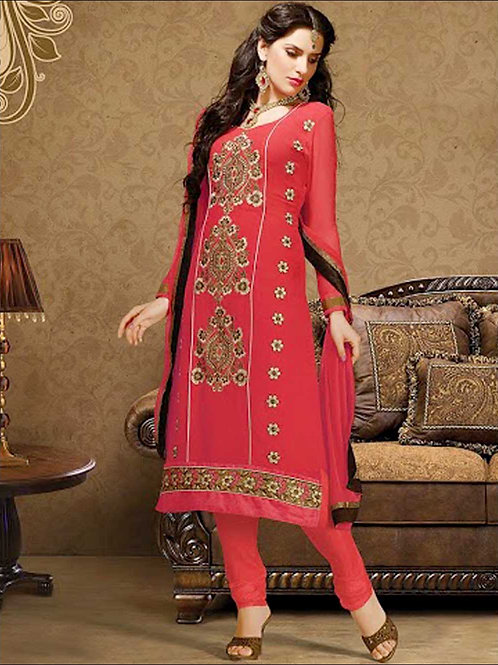 1005Red and Golden Georgette Straight Suit