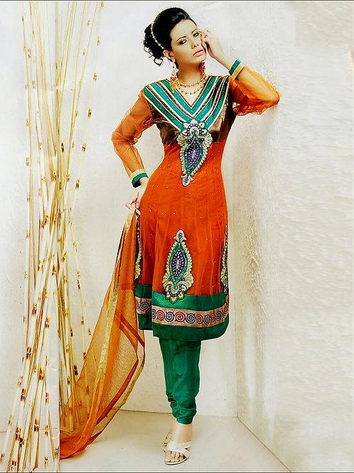 03 Dark Orange and Dark Sea Green Net Anarkali Suit
