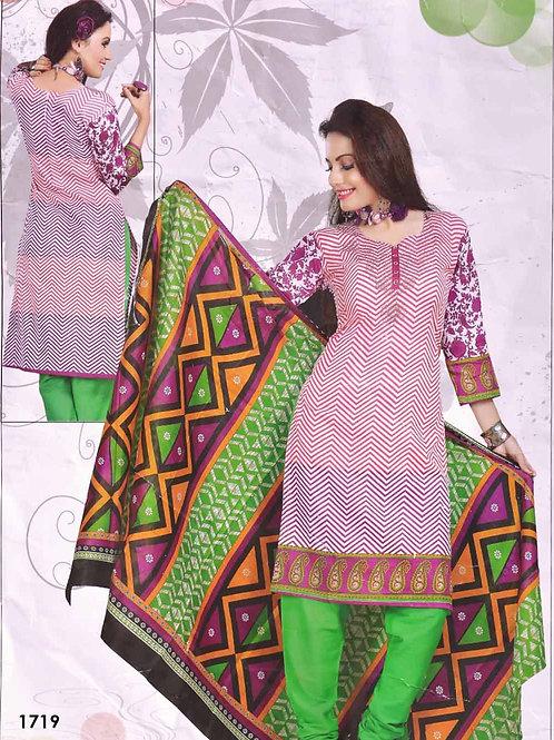 1719 White Printed Salwar Suit