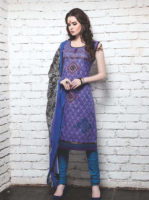 16 Violet and Dark Sky Blue Cotton Satin Pakistani Suit