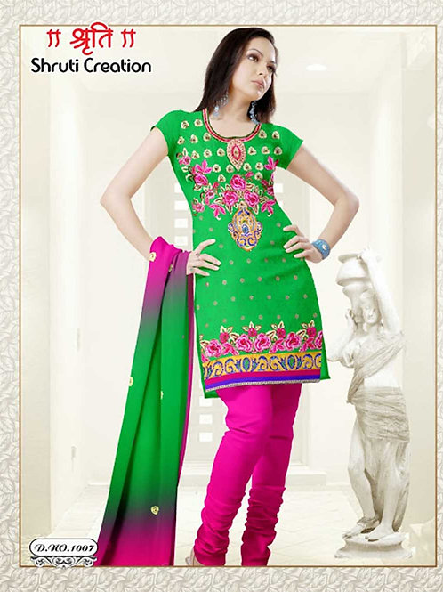 1007 Parrot Green and Magenta Georgette Jacquard Dress Material