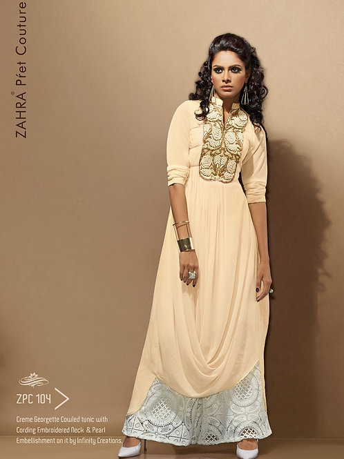 104 Pearlish Cream Exclusive Fancy Party Wear Designer Kurti