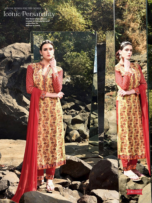 1007Red and LightYellow Faux Georgette Party Wear Straight Suit