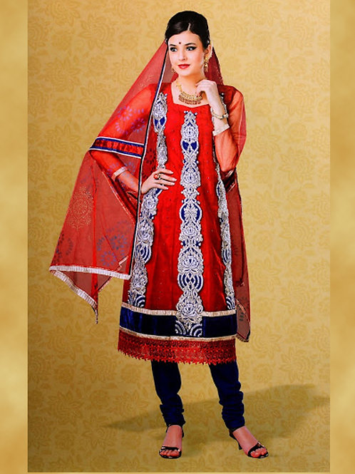 103Red and NavyBlue Georgette Designer Suit