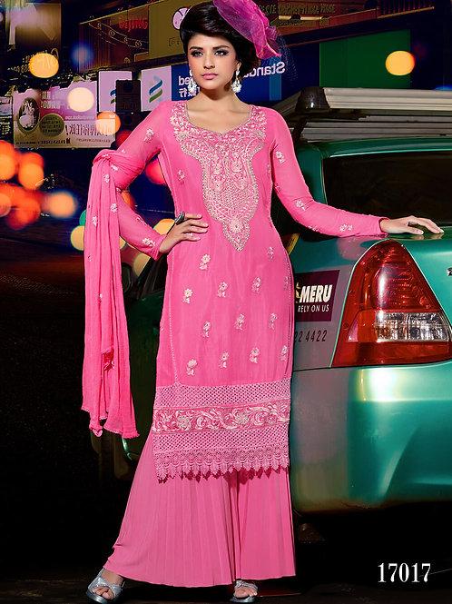 11017 Pink Designer Chiffon Straight Suit