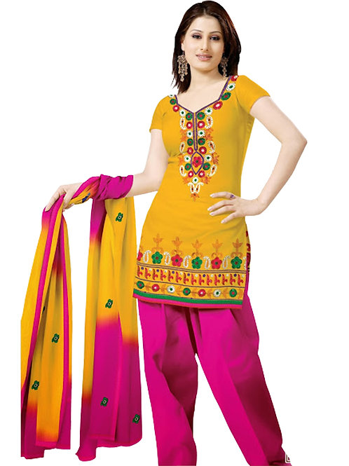 1008 TurmericYellow and Magenta Velvet Embroidered Dress Material