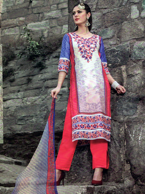 1006White and CarrotRed Printed Cotton Daily Wear Straight Suit