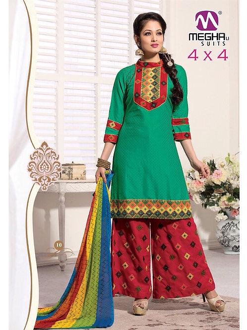 10SeaGreen and Red Satin Jacquard Patiyala Suit