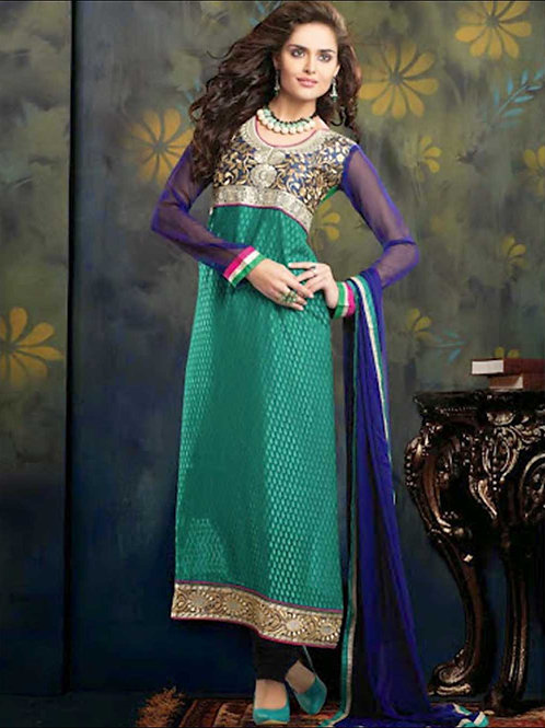 10005NavyBlue and SeaGreen Brasso Straight Suit