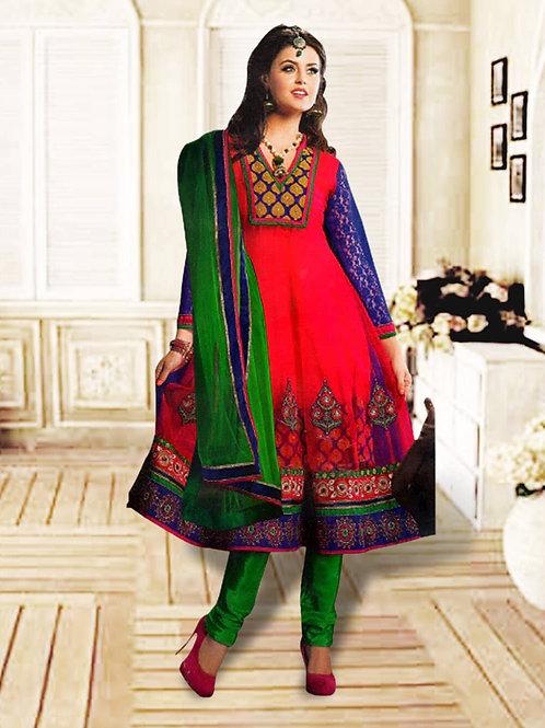 1206Dark Pink and Green Anarkali Suit