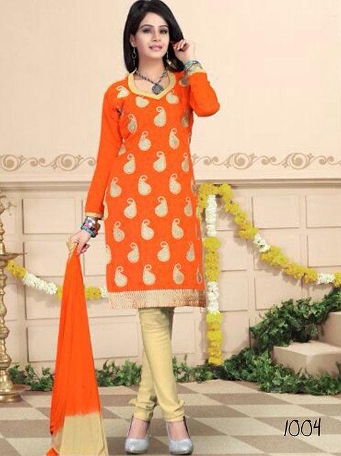 1004 Saffron and Beige Daily Wear Chanderi Salwar Suit