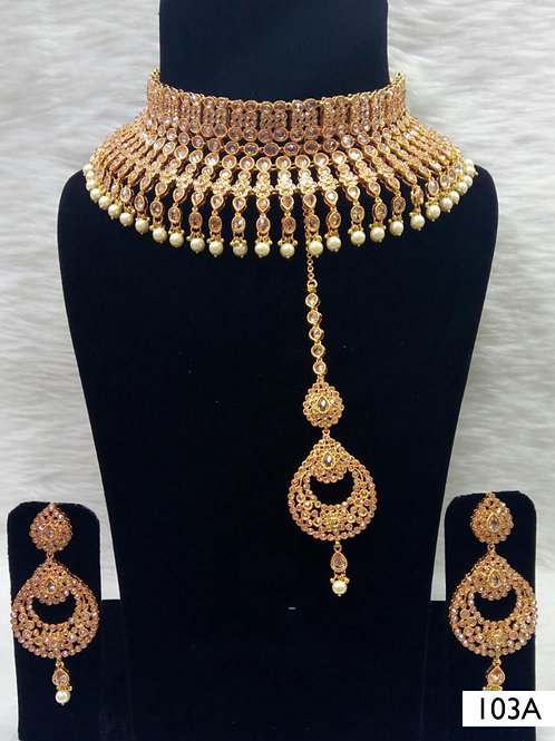 103A Golden Bridal Wear Necklace Set With Maang Tika