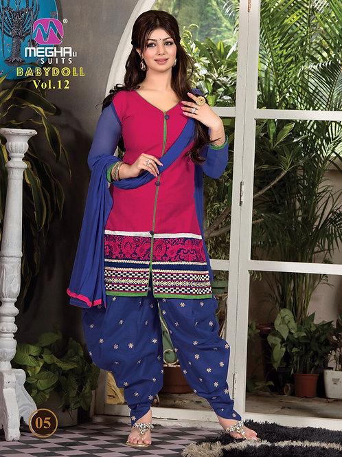1205DeepPink and Blue Patiyala Suit