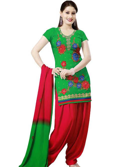 1002 Green and Crimson Velvet Embroidered Dress Material