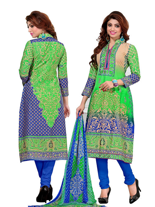 1005MintGreen and Blue Embroidered Pure Cambric Cotton Casual Wear Chudidar Suit