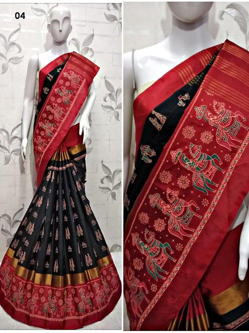 04 Red and Black Designer Cotton Silk Saree