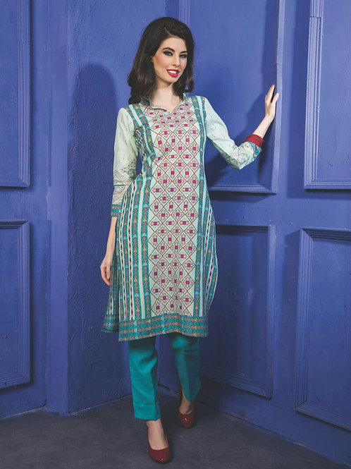 10LightAquaBlue and SeaGreen Printed Cambric Top Daily Wear Designer Suit