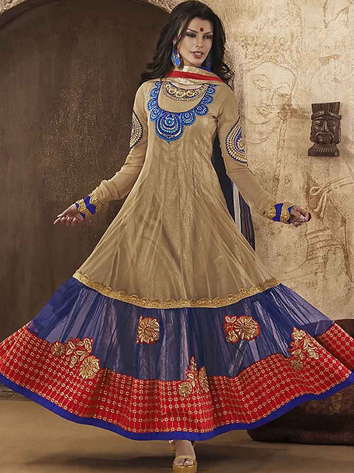 1826SandyBrown Blue and Red Net Anarkali Suit